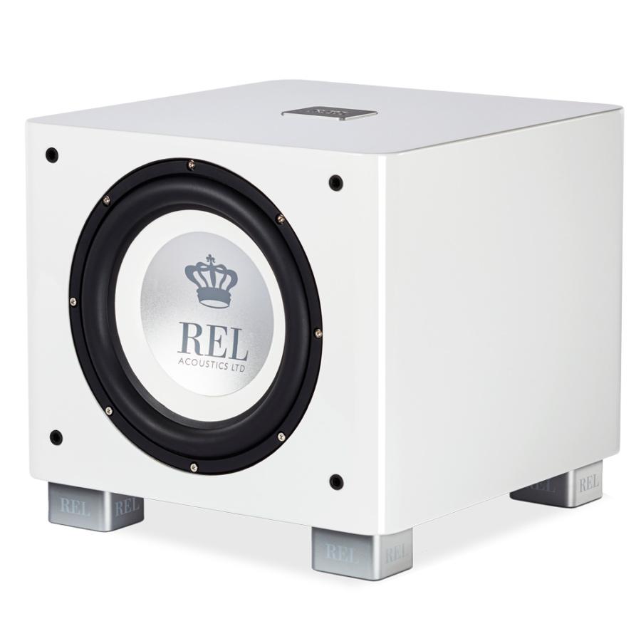 Seattle REL Acoustics T9X subwoofer white front quarter view
